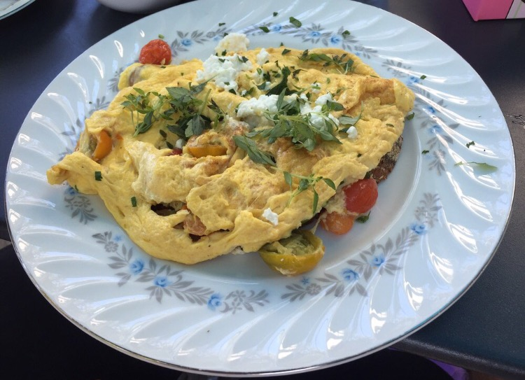 Tomato, basil, and feta omelet
