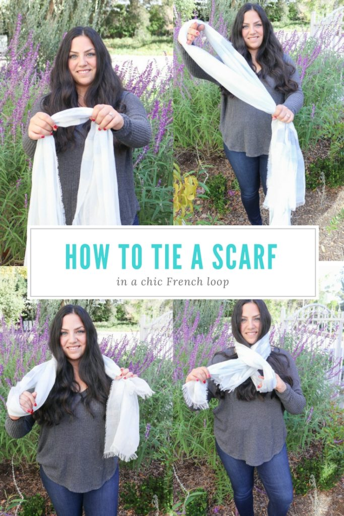 How to tie a scarf in a chic french loop and several other ways to wear a scarf and other wardrobe essentials