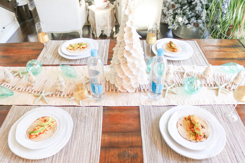 A Coastal Christmas Tablescape and Spicy Mango Shrimp Tacos