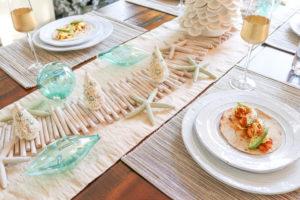 A Coastal Christmas Tablescape and Spicy Mango Shrimp Tacos