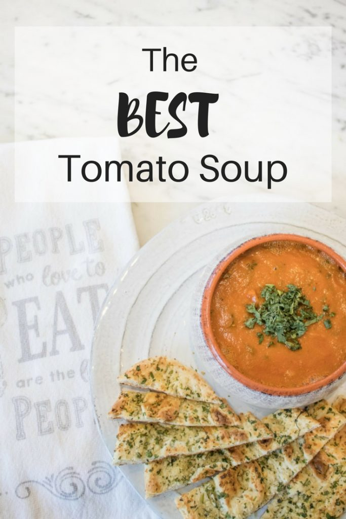 The best creamy roasted tomato soup recipe you'll try! It's packed full of tons of veggies. So healthy, yet super comforting! | vegan | dairy free | whole 30 |