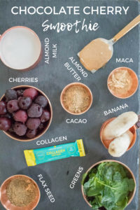 Chocolate Cherry Smoothie, very healthy, easy, filling, and satisfying breakfast, perfect for on the go. Includes protein, fiber, fat, superfoods like maca and cacao and greens according to the #fab4 method that will keep you full and help keep your blood sugar balanced. So healthy!