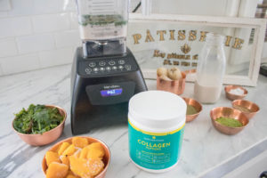 Matcha Mango Smoothie, very healthy, easy, filling, and satisfying breakfast, perfect for on the go. Includes protein, fiber, fat, and greens according to the #fab4 method that will keep you full and help keep your blood sugar balanced. So healthy!