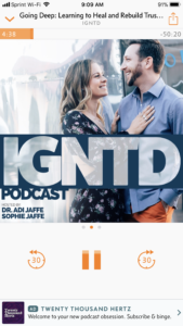 Podcasts for couples to listen to in order to improve their relationships. IGNTD with Sophie and Adi Jaffe