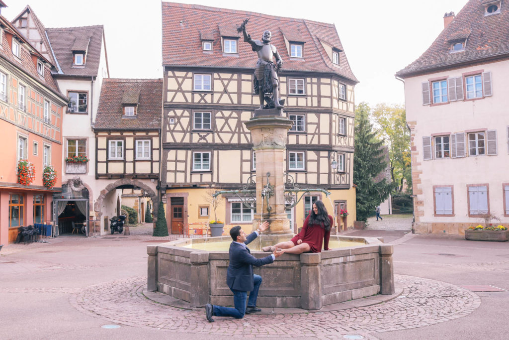 Beauty and the Beast fountain in Colmar, France