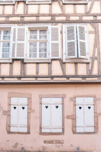 The cutest blush and heart architecture in Colmar, France. A charming city with german influence. One to add to your Europe bucket list!