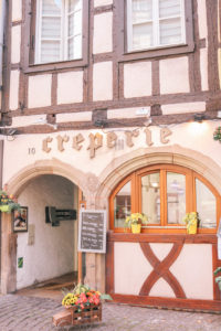 Cute creperie in the charming town of Colmar, France. The perfect weekend trip from Paris and a fairy tale like town.