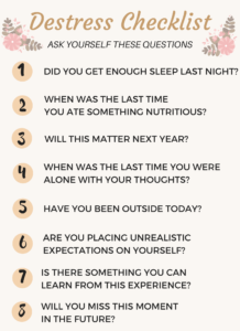 Checklist of self care questions to ask yourself to instantly destress