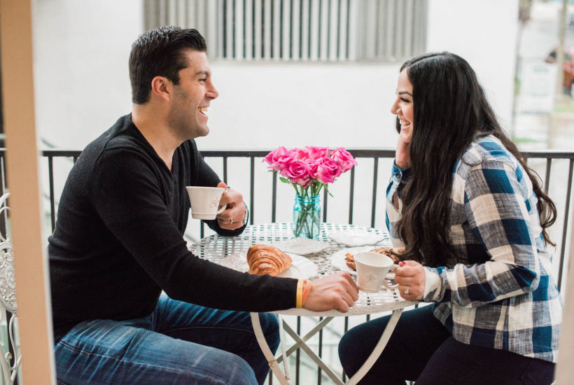 At home date night ideas. Have a cute breakfast outside in the backyard or on the balcony. Perfect for a budget friendly and romantic date