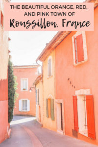 The beautiful rusty orange, red, and pink colors of the French town of Roussillon, France