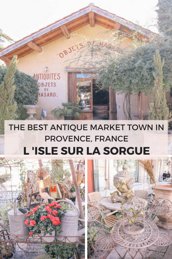 The best antique market town in Provence, France is Isle Sur La Sorgue. It's also the perfect home base for spending a week in Provence