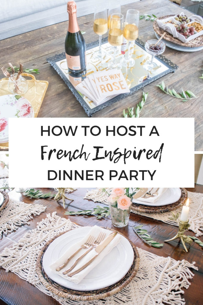 How to host a French inspired dinner party with easy entertaining tips for a fancy dinner party. Includes complete menu and rustic tablescape ideas