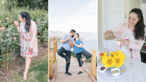 gallery of three photos with girl stopping to smell the roses, couples stretching while they kiss, and girl pouring ingredients to make a smoothie