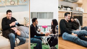 List of relationship goals: three photos of a couple who are talking and connecting